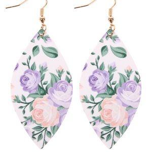🌞SUMMER SALE🌞Purple floral faux leather earrings